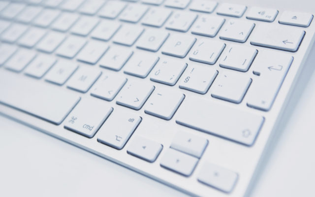 White computer keyboard. Photo from Alpha Media USA Portland OR