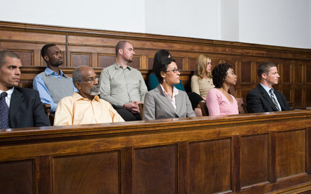 Jurors in the jury box. Photo from Alpha Media USA Portland OR