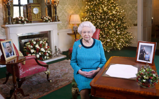 LONDON, ENGLAND - DECEMBER 24, 2017: Queen Elizabeth II sits at a desk in the Regency Room after recording her Christmas Day broadcast to the Commonwealth at Buckingham Palace on December 24, 2016 in London, England. (Photo by Yui Mok - WPA Pool/Getty Images)